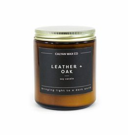 LEATHER OAK AMBER JAR CANDLE
