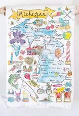 MICHIGAN MAP FLOUR SACK TOWEL