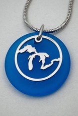 GREAT LAKES BEACH GLASS NECKLACE-SUPERIOR BLUE