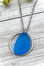 BEACH GLASS NECKLACE-SUPERIOR BLUE