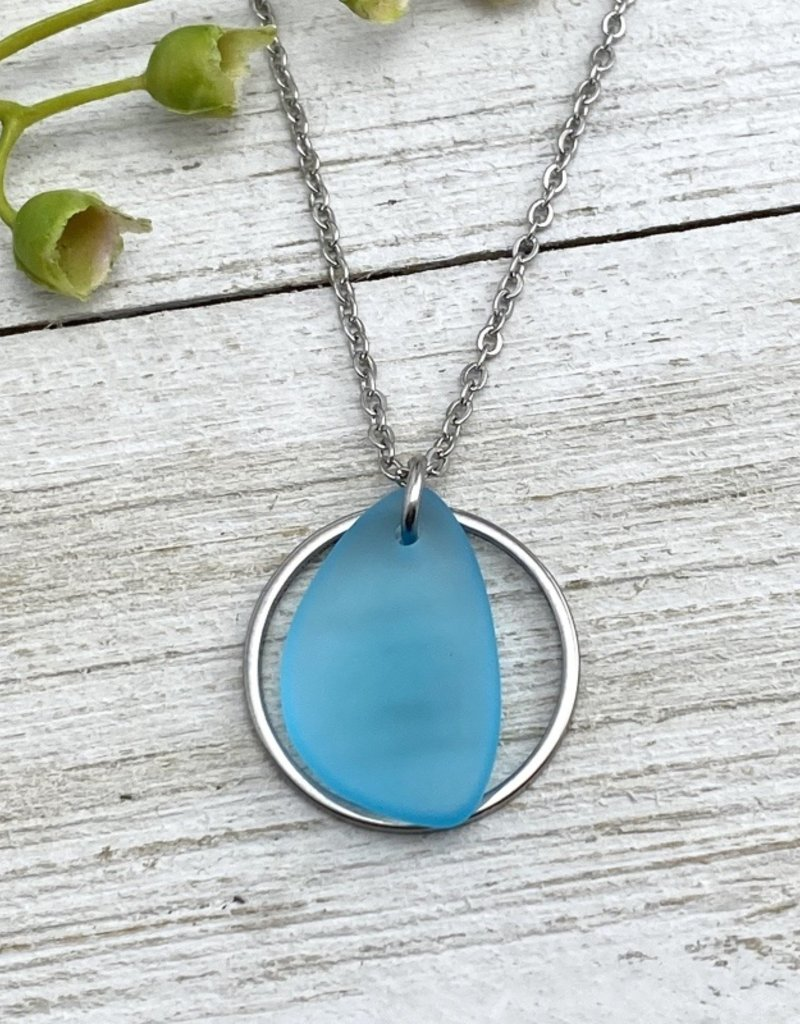 BEACH GLASS NECKLACE-TURQUOISE