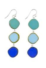 CIRCLE TRIPLE DROP EARRINGS-BLUE MIX