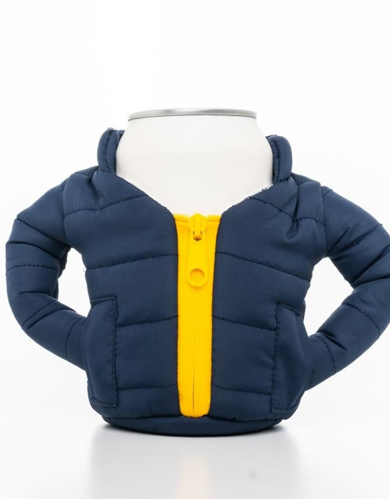 PUFFER JACKET CAN KOOZIE-BLUE/GOLD