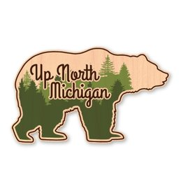 UP NORTH MICHIGAN BEAR-WOOD STICKER