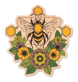 BEE WITH FLOWERS- WOOD STICKER