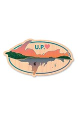 U.P. WITH SUNSET-WOOD STICKER