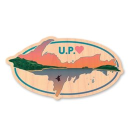 U.P. WITH SUNSET- WOOD STICKER