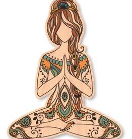 MEDITATING GIRL- WOOD STICKER