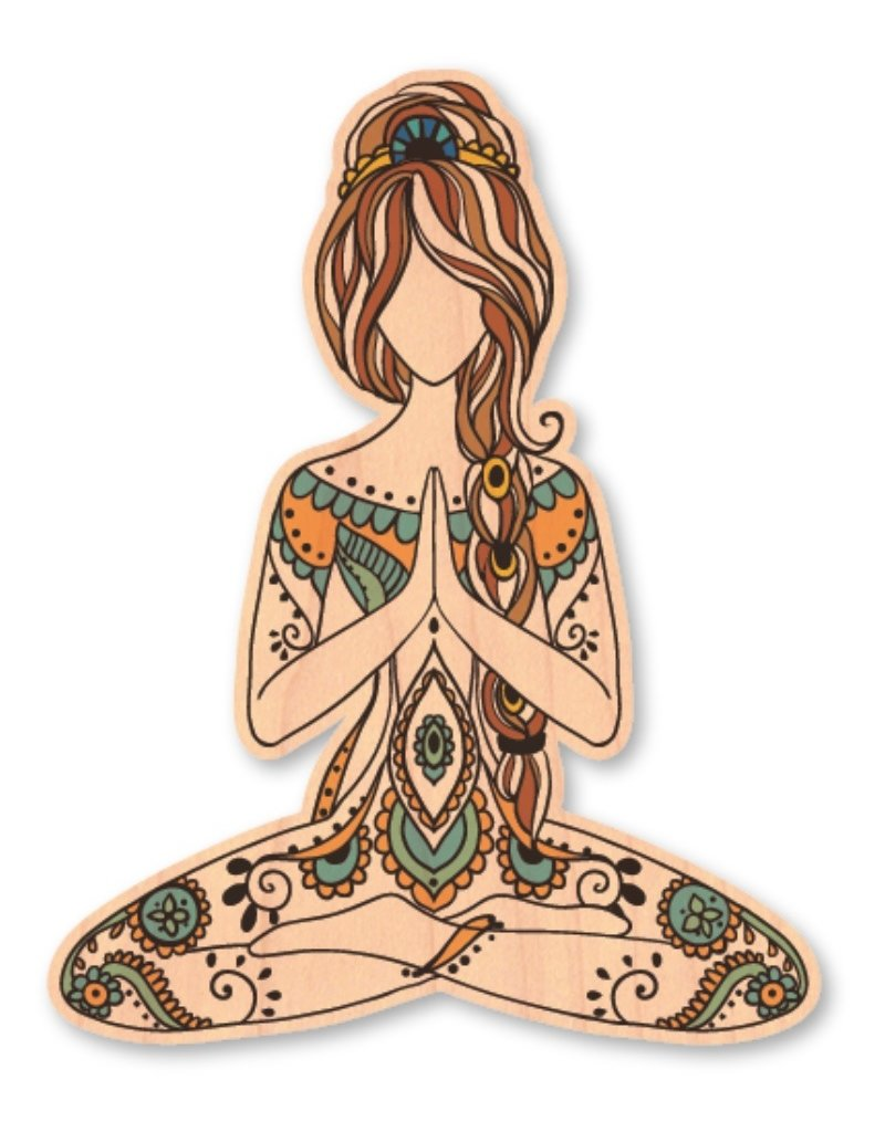 MEDITATING GIRL-WOOD STICKER