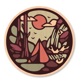 TENT CAMPING-WOOD STICKER