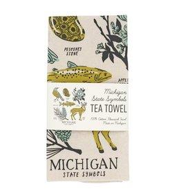 CITY BIRD MICHIGAN SYMBOLS TEA TOWEL