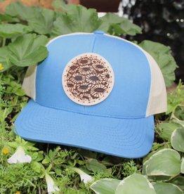 PETOSKEY STONE DETAIL TRUCKER HAT- BLUE/BEIGE