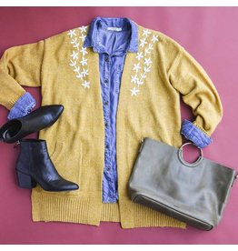 Skies Are Blue Mustard Knit Cardigan With Floral Embroidery