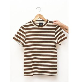 Lumiere Brown Glitter Lurex Striped Shirt