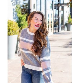 Lumiere Pink & Grey Color Block Sweater