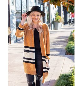 Lush Camel Stripe Cardigan Sweater