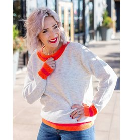 KUT Olga Crew Neck Sweater Grey Coral