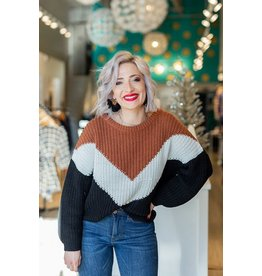 Lumiere Rust Multi Color Block Sweater