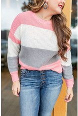 Lumiere Pink & Grey Colorblock Sweater