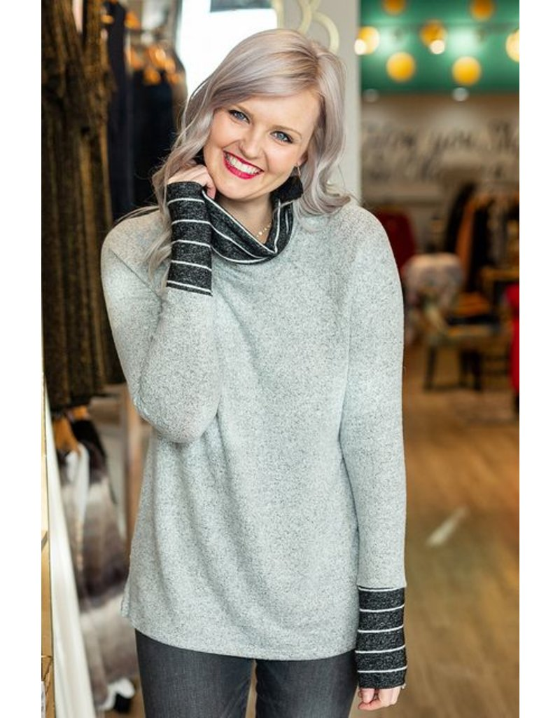 Ivory Grey Two Tone Sweater