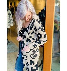 Ivory Khaki Leopard Print Cardigan