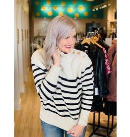 Ivory Ivory Turtleneck Stripe Sweater