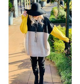 Ivory Mustard  Knit Sweater
