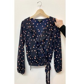 Lumiere Navy Print Ruffled Wrap Blouse