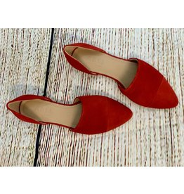 ABLE Sarai D'Orsay Fire Red Suede Flat