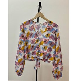 Lush Pink Multi Front Tie Woven Top