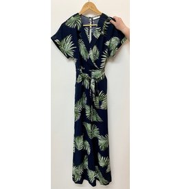 Lush Navy Short Sleeve Woven Jumpsuit