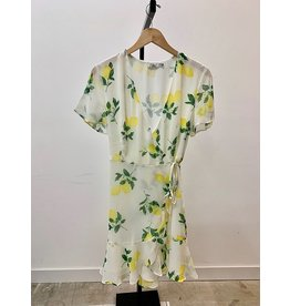 Lush Lemon Print Chiffon Ruffle Wrap Dress