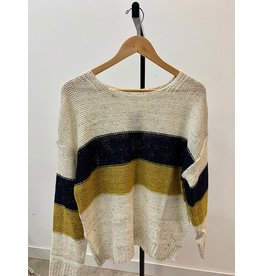 Wish List Ivory Colorblock Sweater Top