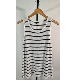 Staccato White & Navy Striped Top