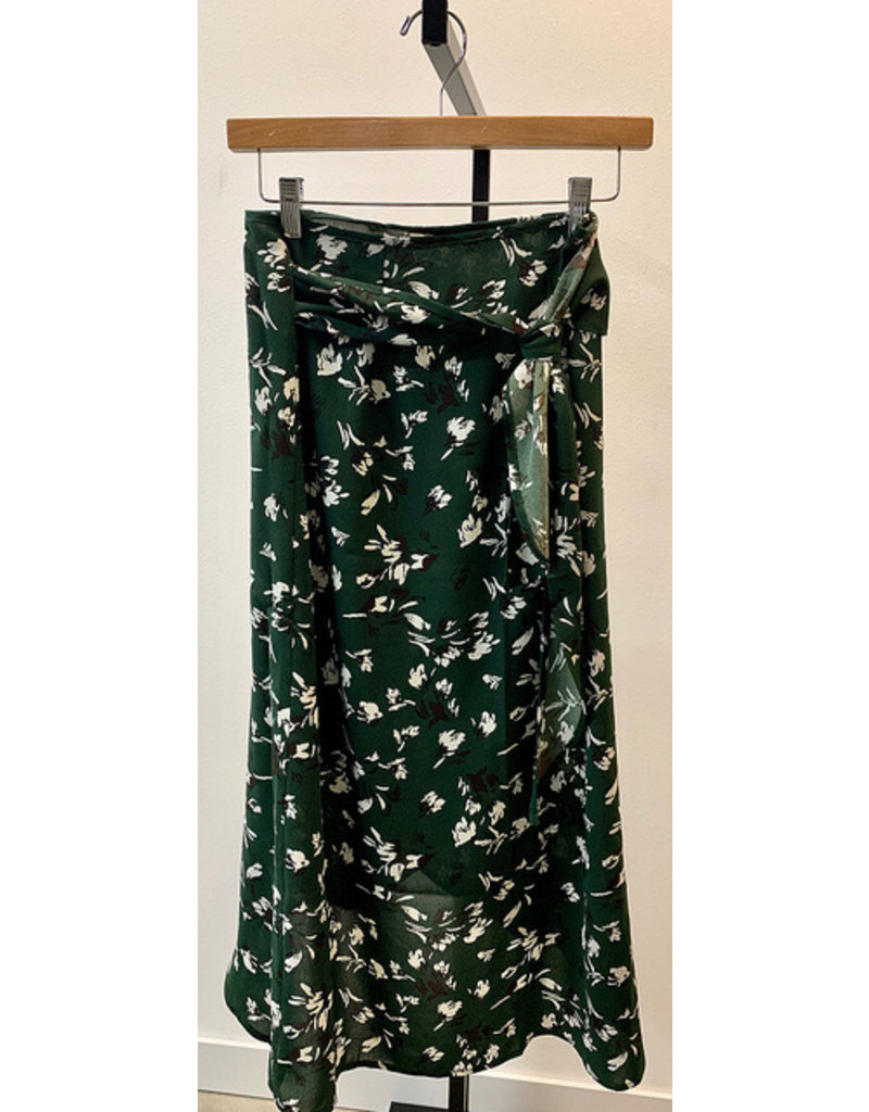 Look By M Green Floral Wrap Skirt