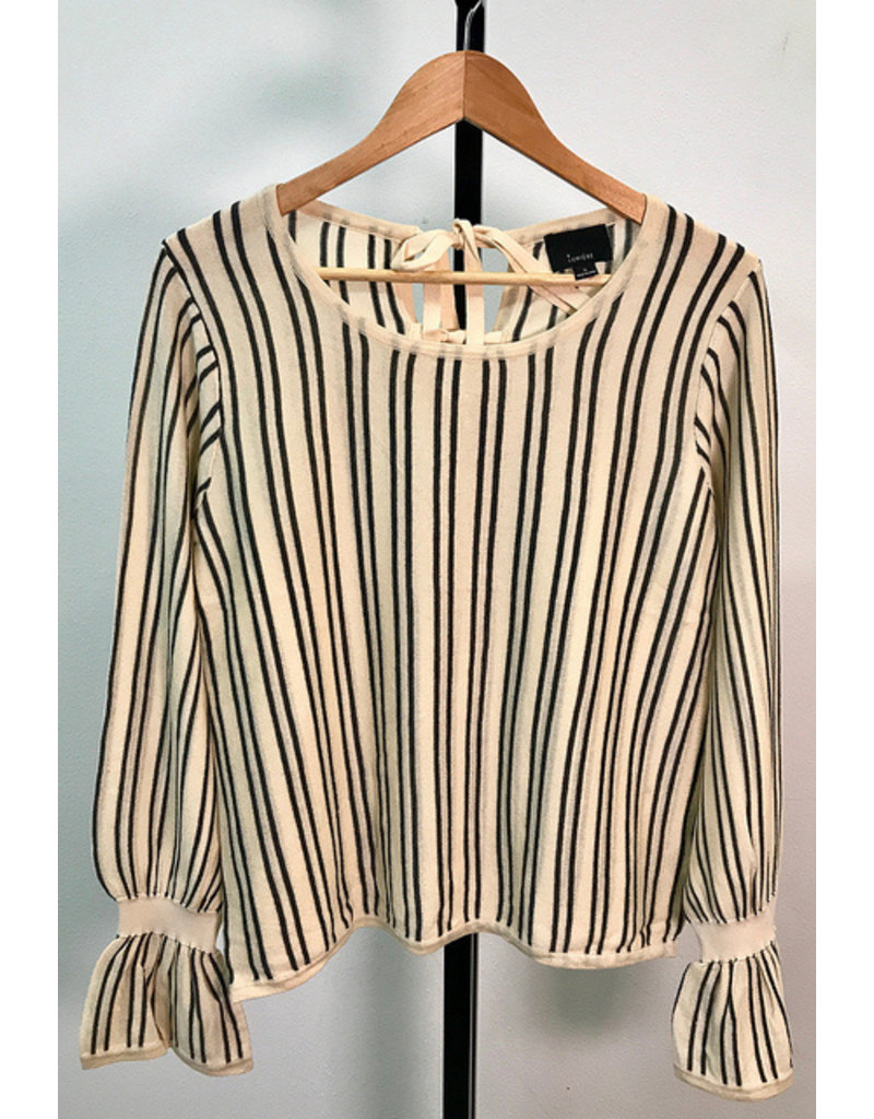 Lumiere Oatmeal & Charcoal Striped Top