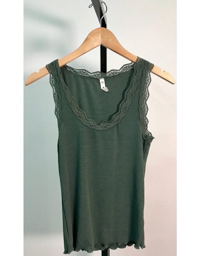 Wish List Olive Lace Sleeveless Top