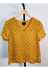 Lumiere Mustard Polka Dot V-Neck Top