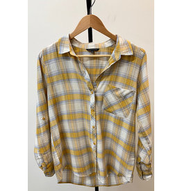Staccato Yellow Collared Plaid Top