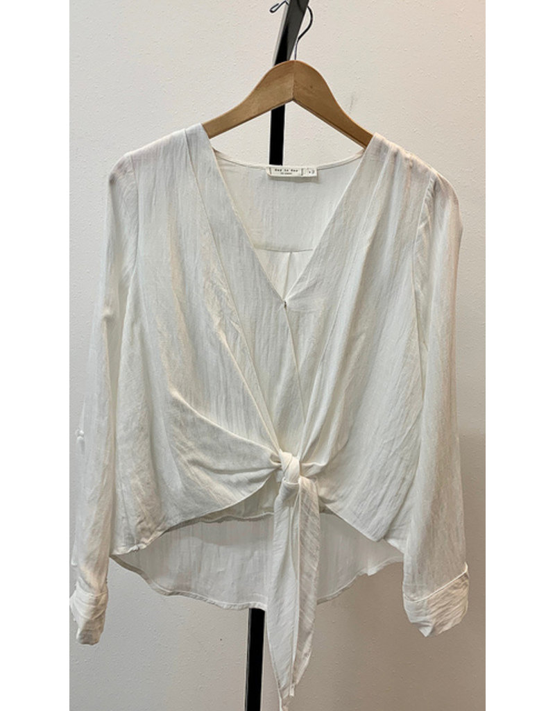 Blu Pepper White Front Tie V-Neck Blouse With Cuffed Sleeves