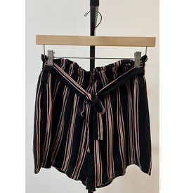 Staccato Black & Rust Striped Lined Shorts