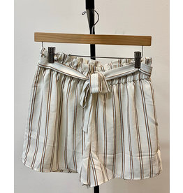 Staccato Ivory Striped Lined Shorts