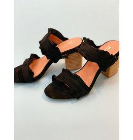 Mi.iM Black Rachel Casual Ruffle Block Heel