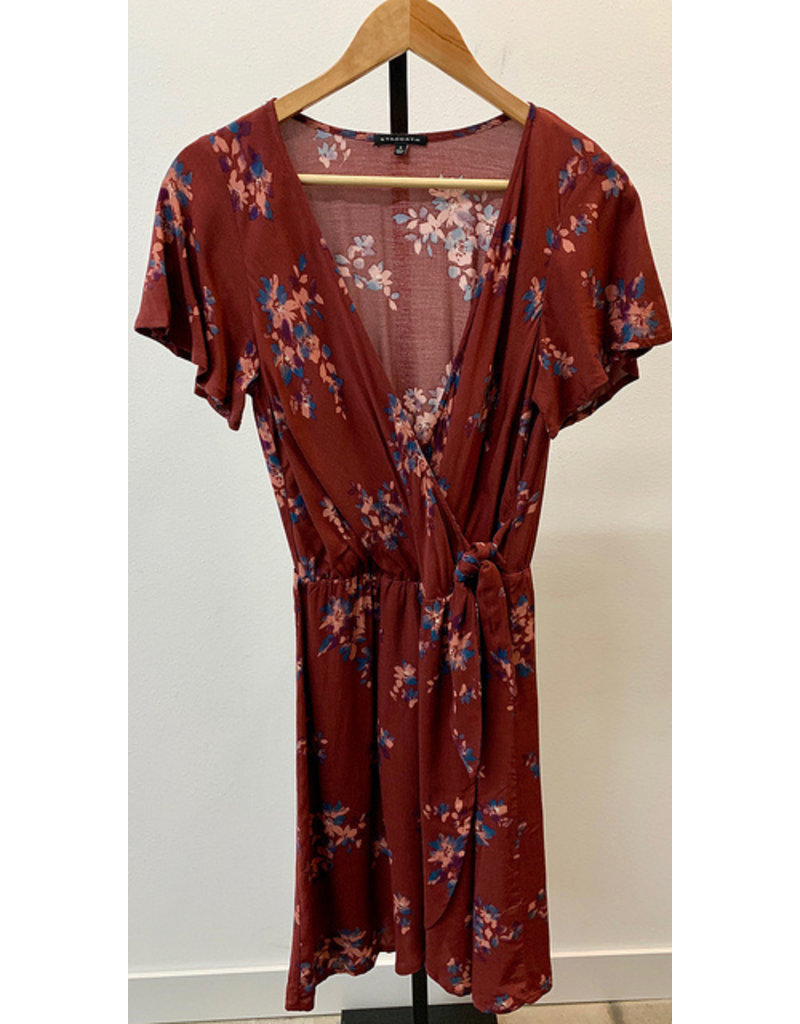 Staccato Rust Wrap Floral Print Dress