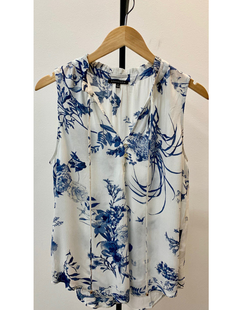 Staccato Blue Ruffle Tie Neck Floral Tank