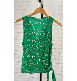 Lush Green & Vanilla Side Tie Wrap Tank