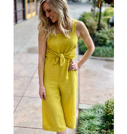 Lumiere Mustard Sleeveless Jumpsuit With Front Tie