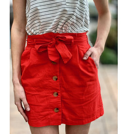 Lumiere Red Woven Skirt With Buttons And Front Tie