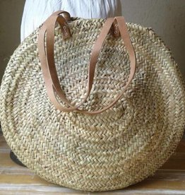 Large round HB weave with long leather handles