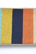 """multi color stripe beaded clutch 9"""" x 6"""""""